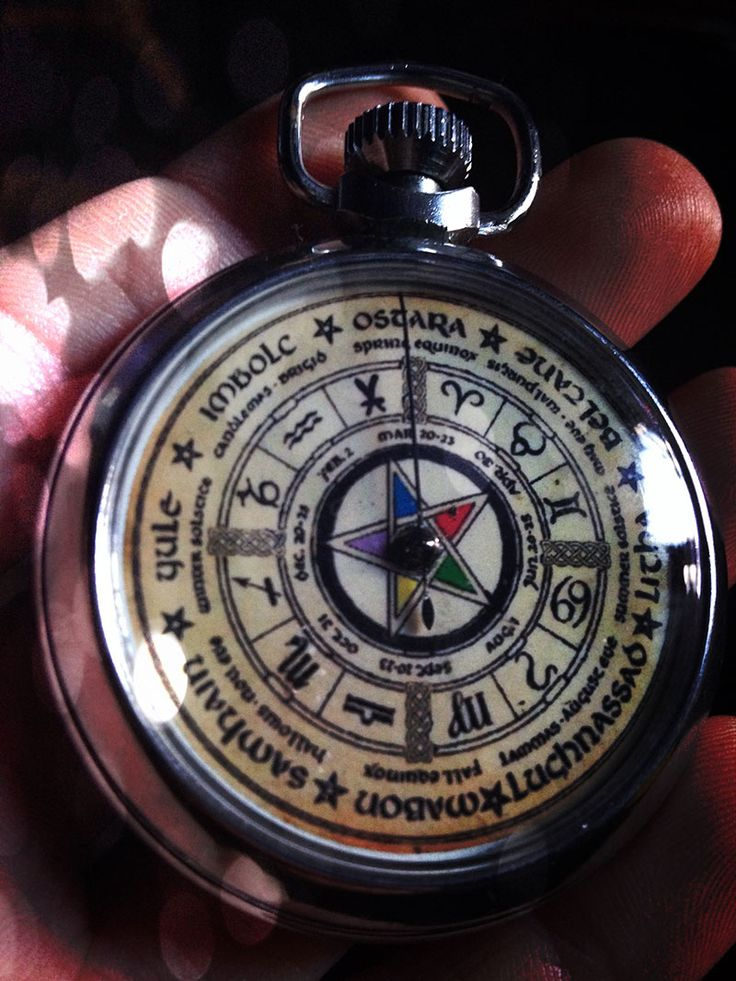 Vintage Ouija Board Pentagram Pocket Watch: Ask your question, spin the winder and the hand spins around the dial until stopping on yes or no or a number Made in England in the 1960's