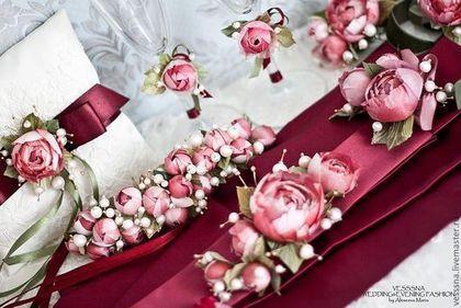 """Браслеты ручной работы. Браслеты для подружек невесты """"Вишневая романтика"""". Цветы из шелка.. VESSSNA WEDDING. Ярмарка Мастеров. Свадебные аксессуары"""