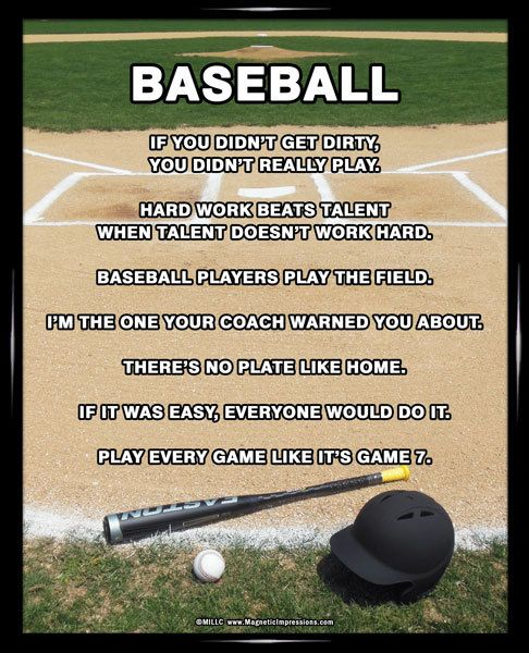 "Baseball Field 8x10 Poster Print. Funny baseball sayings like, ""If it was easy, everyone would do it,"" will motivate baseball players to work hard and win!"