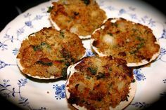 Bacon Stuffed Clams/ Instead of using bread crumbs use parm cheese.