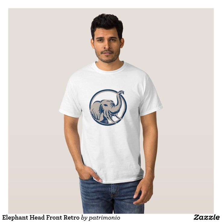 Elephant Head Front Retro T-Shirt. Men's t-shirt designed with an illustration of an elephant head viewed from the front set inside a circle on isolated white background done in retro style. #tshirt #elephant #pachyderm