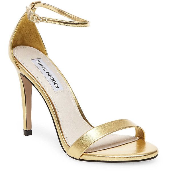 Steve Madden Stecy-M Stilettos Sandals ($80) ❤ liked on Polyvore featuring shoes, sandals, gold, metallic sandals, gold stilettos, metallic high heel sandals, gold high heel sandals and high heeled footwear