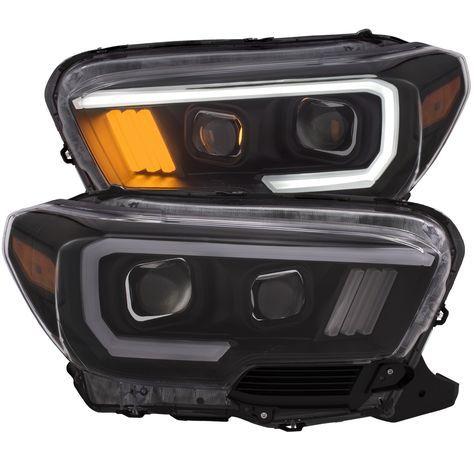 Pure Tacoma Accessories *NEW* Tacoma 16-18 Projector Plank Style Headlight Black W/ Amber [111377] - TOYOTA TACOMA 16-17 PROJECTOR PLANK STYLE HEADLIGHT BLACK w/ AMBER
