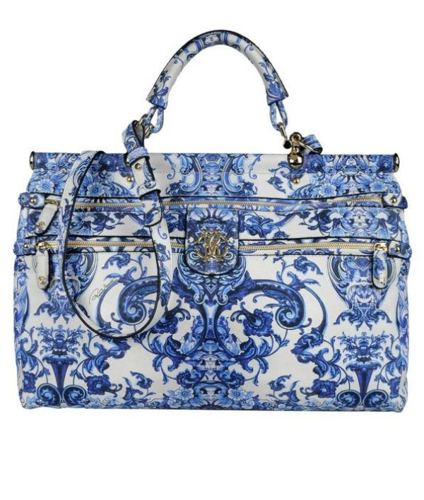 Roberto Cavalli blue and white porcelain-print handbag, 2013 Spring/Summer Collection