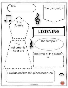 FREE download - music listening student response sheet ♫ ♫ CLICK through to…