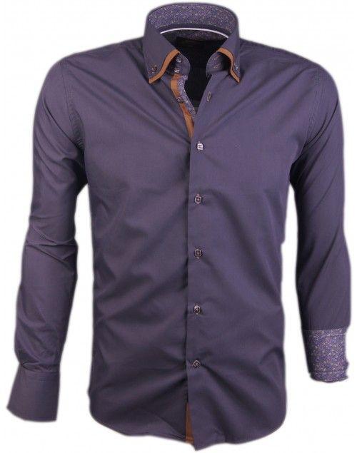 Donkergrijs Italiaans heren overhemd van het merk Arya Boy.
