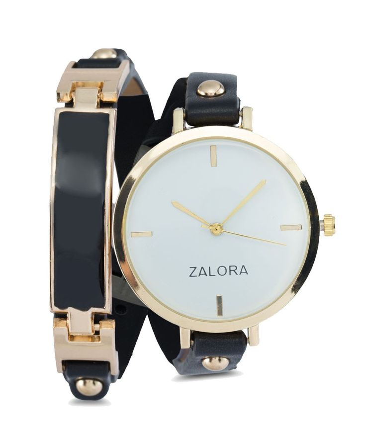 Double Wrap Enamel Buckle Watch by Zalora. Black watch with wrap style, with a combination of gold and black color, strap that made from synthetic leahter, such a classy combination, perfect for formal or semi formal occasion. http://www.zocko.com/z/JGjyk