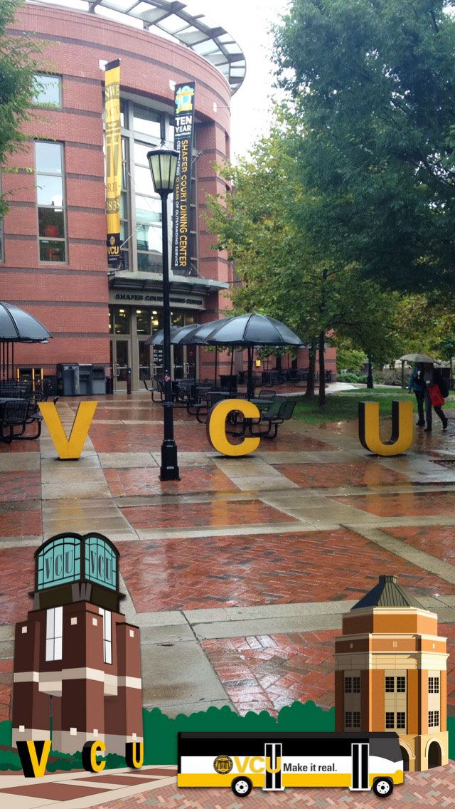 """VCU"" has a new Snapchat geofilter! Look for it near the Compass and University Student Commons. #VCU #snapchatfilters"