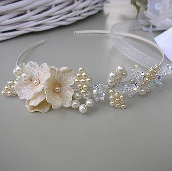 Pearl And Crystal Floral Handbeaded Tiara
