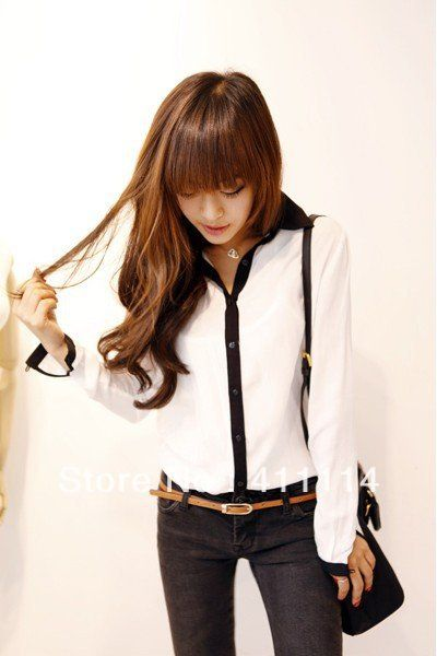 new Promotions!2013 hot summer Fashion trendy women blouse shirts Classic black and white Department shirt-in Blouses & Shirts from Apparel & Accessories on Aliexpress.com