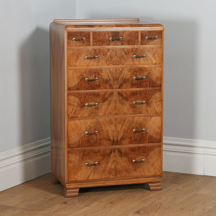 Antique English Art Deco Burr Walnut Chest of Drawers (Circa 1930)
