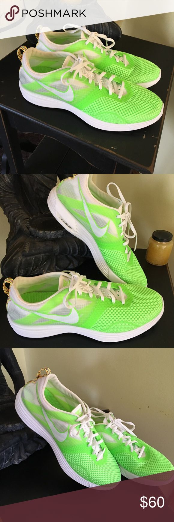 Nike LunarMTRL Montreal+ Men's running shoes NWOT. Never worn. Rare sneaker. Electric green and white. Has Nike+ capability. Make an offer! Discount on bundles! Nike Shoes Sneakers