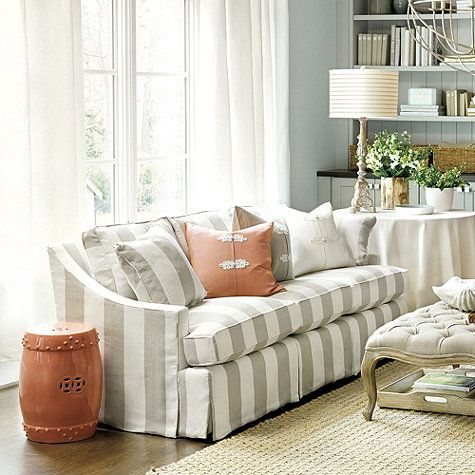 Striped sofas and chairs white striped fabric clic sofa for Striped chairs living room