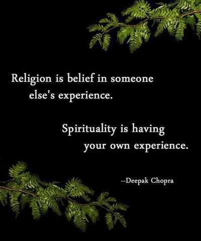 religion is belief in someone else's experience. spirituality is having your own experience.