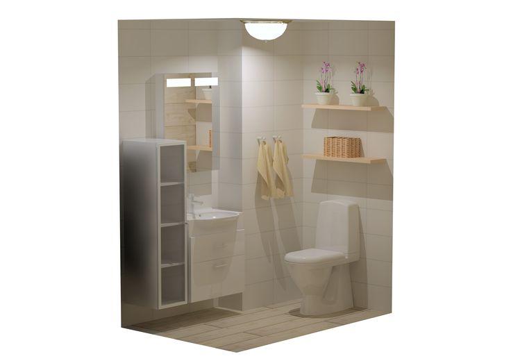 KylpyhuonesuunnitelmaTreverk Home.   Vaalean skandinaavisen kylpyhuoneen juju on lattiassa. Kodikkaasti puulta näyttävä lattia on keraamista Treverk Home -lattialaattaa. www.k-rauta.fi