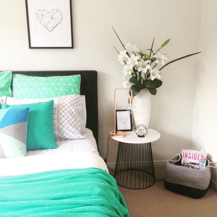 "Melg on Instagram: ""A little mint today with the #kmartaus Trent quilt cover ➕ the Kmart basket & side table. #kmartausshare #kmartaddictsunite #kmarthack #kmarthome #kmartstyling #kmartaus_inspire #budgethomeliving #adairs #ozdesign #printbot #prints (Tap for product details)"""