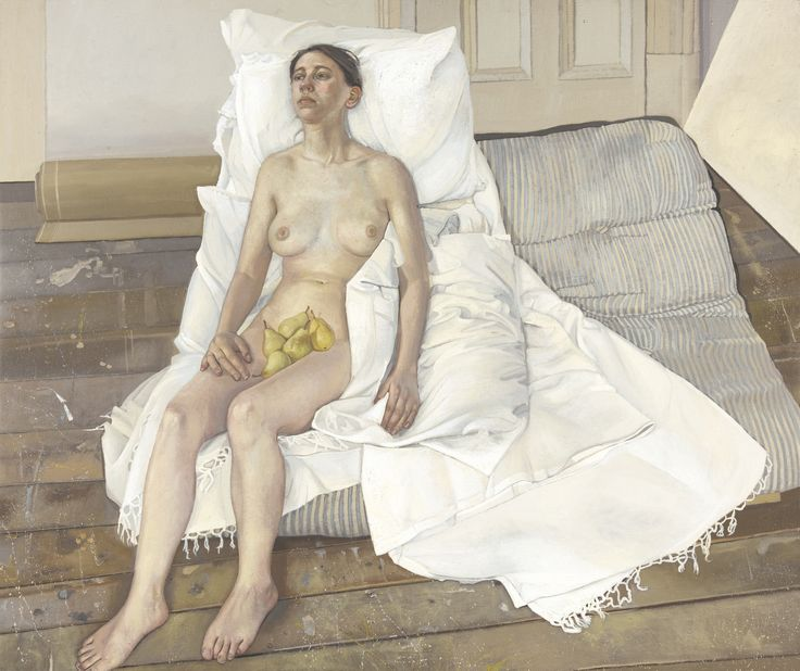 https://flic.kr/p/z4TenF | Alison Watt - Pears | Here we see a naked woman, seated upon a low futon shrouded in a white sheet, awkwardly propped up against several pillows. The room is very sparse, with bare floorboards and paint splatters on the floor – there has been no attempt to mask the reality that this is a model being painted in an artist's studio. The painting, titled Pears, refers to the unexpected element of the image: the pile of pears placed in the sitter's lap. Over time, Watt…