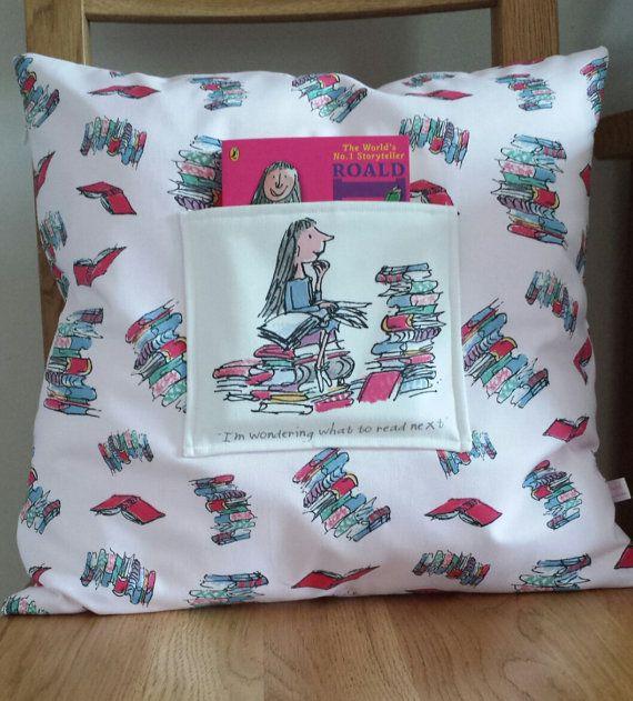 Pocket cushion made using Roald Dahl Matilda fabric https://www.etsy.com/listing/202461234/childrens-pocket-cushion-cover-handmade