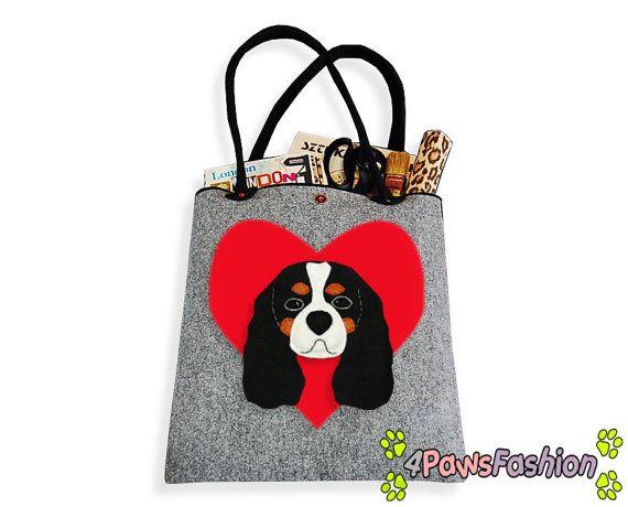 Cavalier King Charles Spaniel Felt Tote. Handmade Shoulder Bag. Long Handles. Dog Design. Everyday use. 4PawsFashion