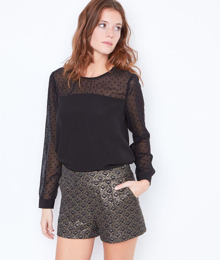Blouse avec inserts en plumetis - Manches longues - Tops & t-shirts - Vêtements - Prêt-à-porter