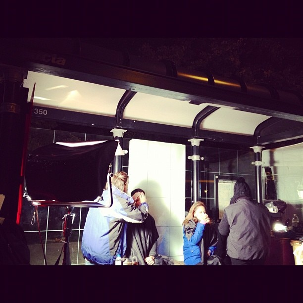 Thank you CTA! Stefan Holt and Daniella Guzman getting makeup in a CTA bus shelter.