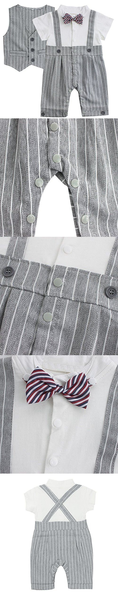 FEESHOW Baby Boys' Cotton Gentleman Romper Vest with Bowtie Outfit Set Gray 3-6 Months