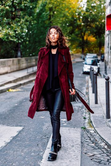 Burgundy Coat Worn Over Black Leather Leggings and Ankle Boots #burgundycoat #burgundytrench #suedetrench #burgundysuedetrench #leatherleggings #leathertrousers #leathertreggings #fauxleatherleggings #fauxleathertrousers #choker #skinnyscarf #blackscarf #studankleboots #ankleboots