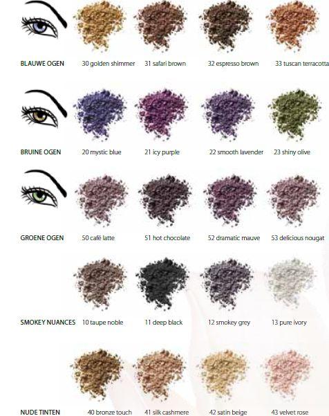 Altijd al benieuwd geweest naar de best bijpassende kleuren oogschaduw bij jouw kleur ogen? Sans Soucis heeft haar collectie van oogschaduwkleuren gekoppeld aan oogkleuren. Zo weet jij hoe jouw ogen opvallen! Klik op de link hierboven voor alle kleuren oogschaduws!