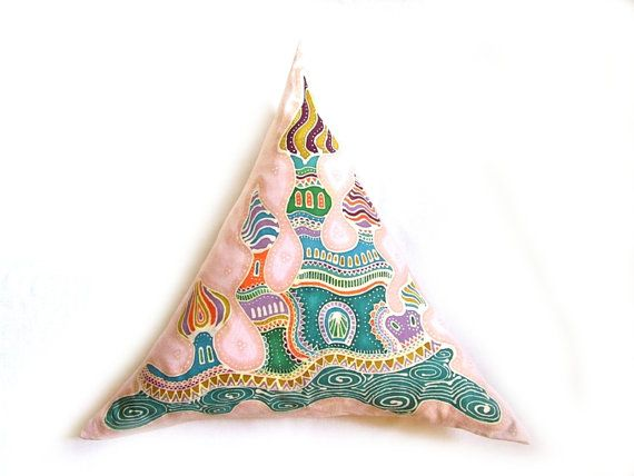 Marrakesh Medina Hand painted batik pillow, hand dyed fabric with fairy palace for children, kids and adults also, trian