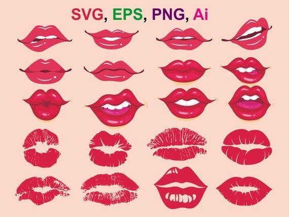 Lips Svg Lips Silhouette Kiss Svg Kiss Cricut Kiss Silhouette