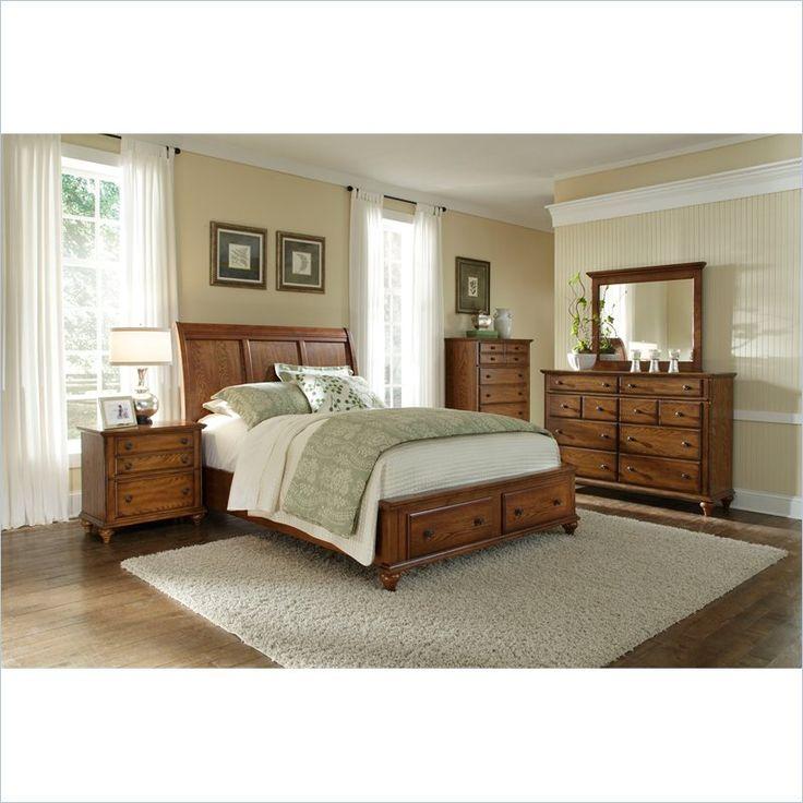 Hayden Place Panel Storage Bed 5 Piece Bedroom Set In Oak
