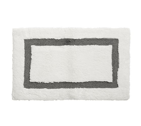 Best Project Bathroom Reno Images On Pinterest Bathroom - White bath rug with black border for bathroom decorating ideas