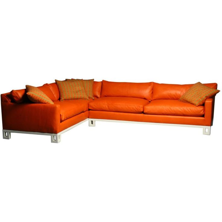 Hollywood regency leather down filled sectional sofa 1