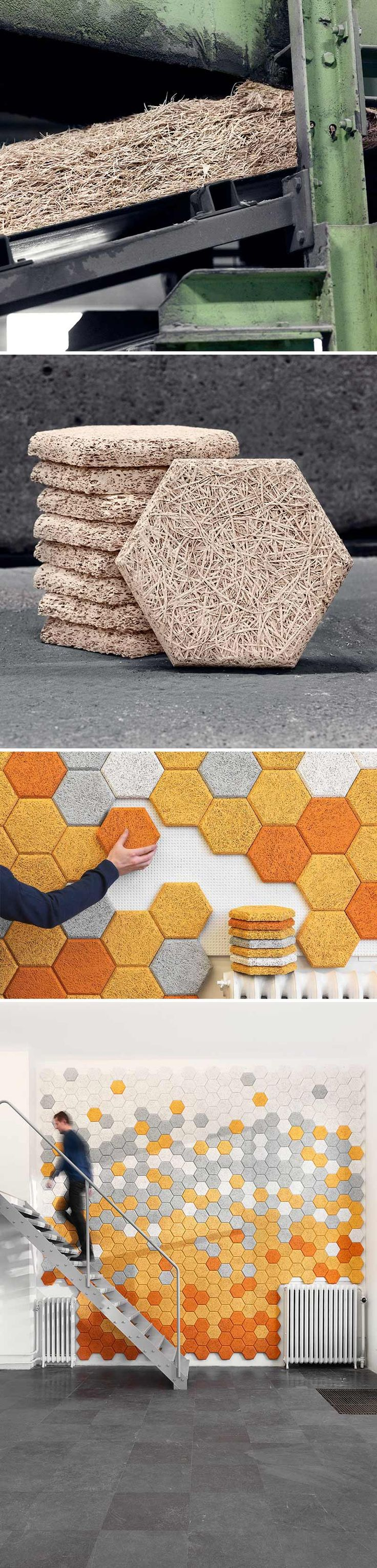 "Träullit Dekor is a progressive, environment-friendly material made from ""wood wool"", cement and water. It is recyclable and sound absorbent. The images show some of the processing involved with making the material as well as the end result! #modern #modular #hexagon"