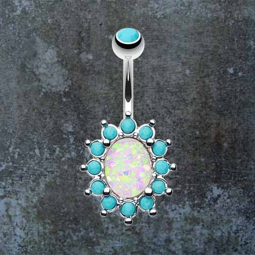 White opal and turquoise belly button rings. White synthetic opal belly ring. This synthetic opal has flecks of blues, pink,yellow and greens, with a turquoise stone edging. Opal setting is 14mm wide