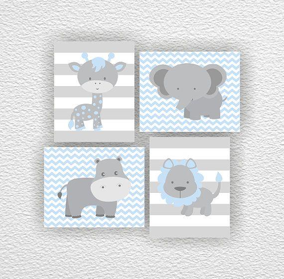 Dschungeltiere, Elefant, Giraffe, Nilpferd, Löwe, Chevron, blau und grau, Satz von 4, 8х10, Spielzimmer Wandkunst, Instant download