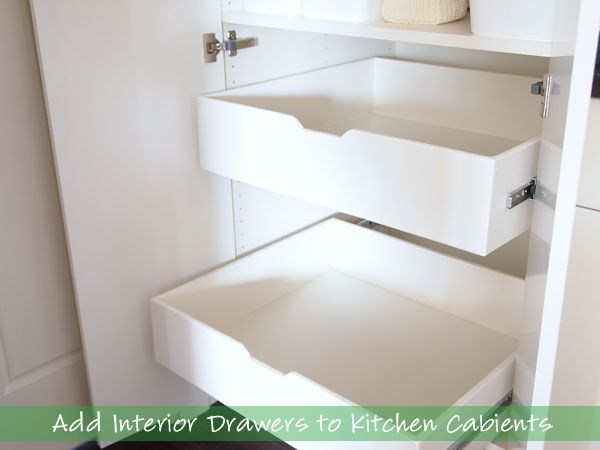 How To Add Interior Drawers to Kitchen Cabinets. This is awesome - they bought Ikea cabinets but didn't buy the Ikea drawers because of the price. Instead, they made their own from plywood.