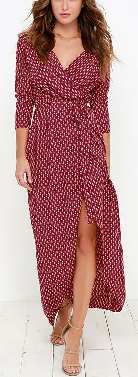 Wine Red Wrap Maxi Dress ==