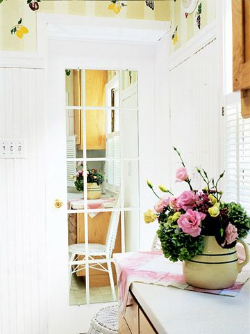 Faux French Door  Does your bath have an uninteresting door? Use it to bring in more light or reflect a window view. This project enhances an interior door with an intriguing treatment using a mirror. Get full project instructions using the link below.  Find project instructions here