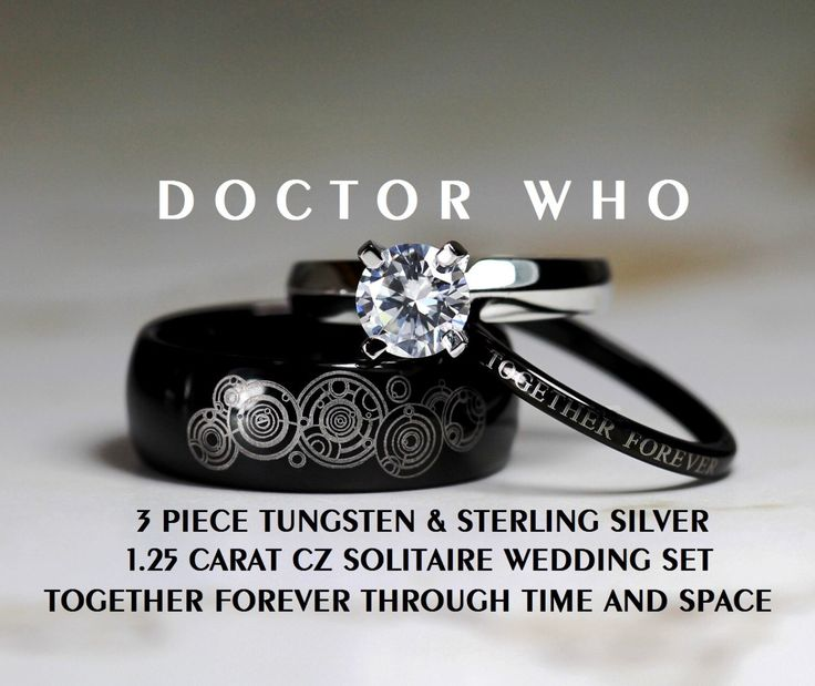 Doctor Who His 8MM Tungsten and Hers 4MM 925 Sterling Silver 1.25 Carat Solitaire CZ Wedding Ring Set, by Cloud9Tungsten on Etsy https://www.etsy.com/listing/208600408/doctor-who-his-8mm-tungsten-and-hers-4mm