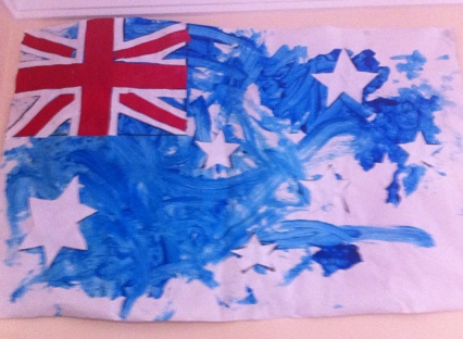 Australia Day!  Children painted an Australian flag blue at my Child Care Center.   Give them a hand positioning the stars and cross!