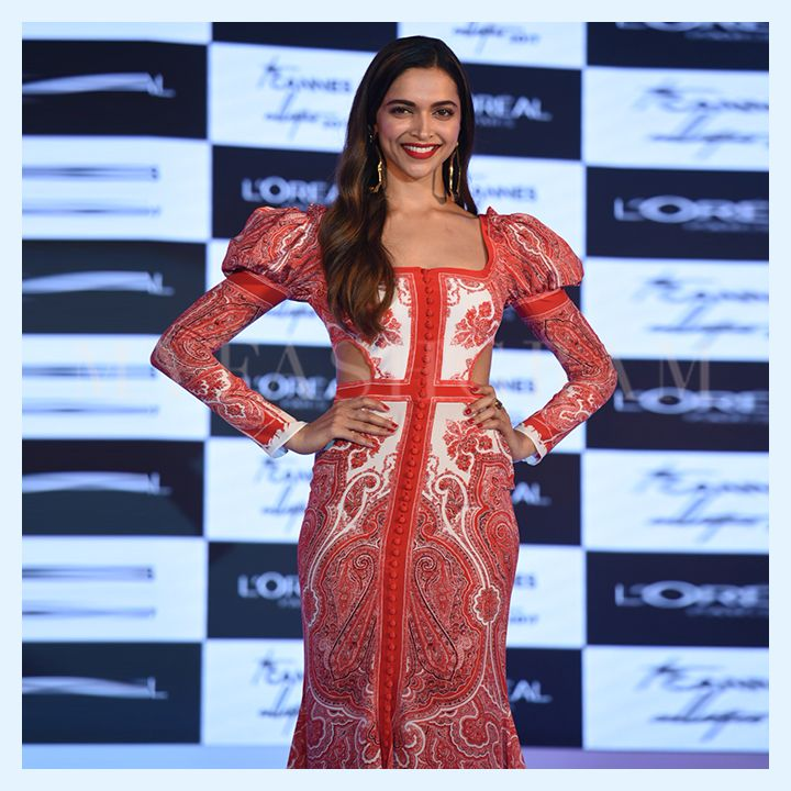 Deepika Padukone in Alexander McQueen, L'Oreal Cannes Collection 2017 Launch, MyFashgram
