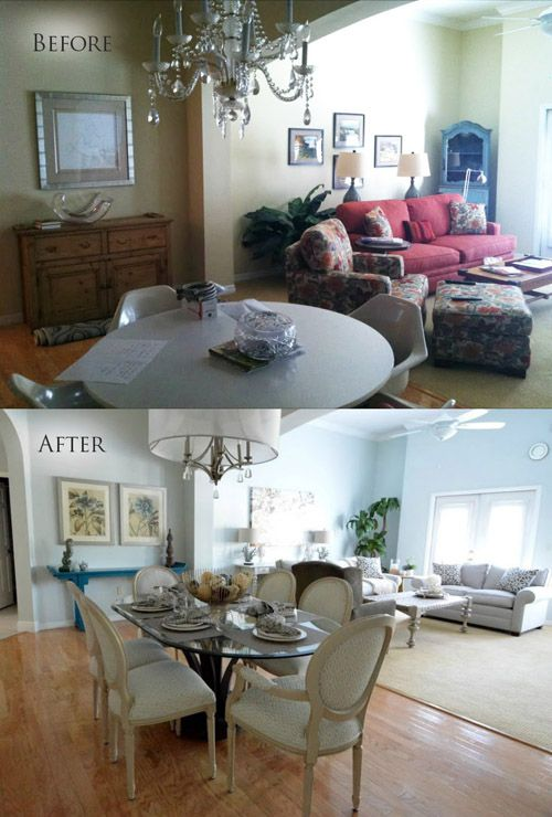 Before After Dining Room Living Room Mhm Professional Staging Llc Home Staging