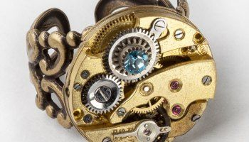 Steampunk Ring watch movement gold gear blue topaz crystal clock ...
