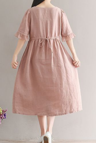 Women loose fitting over plus size linen dress long tunic pregnant maternity