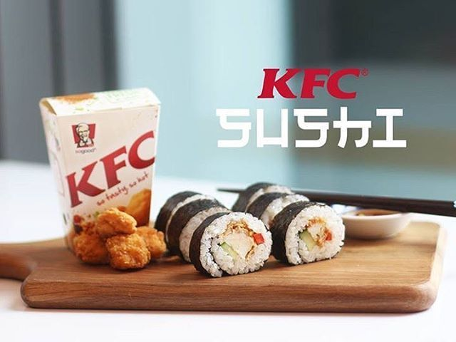 """""""The best kind of fusion - introducing KFC Sushi."""" The irony of this #AprilFoolsDay message from KFC New Zealand is that it would do better than anything else on their menu. . #viralnetics #kfc #marketing #advertising #beliefmedia http://fat.ly/Kmt7 (Ins"""
