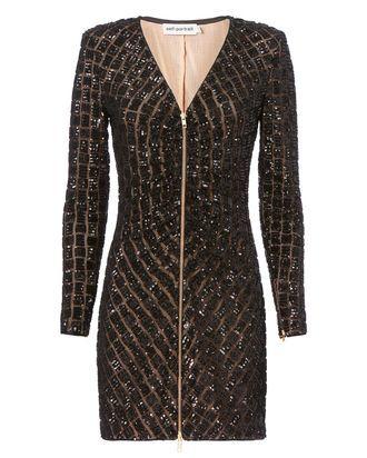 Sequin Zip Front Mini Dress, BLACK, hi-res