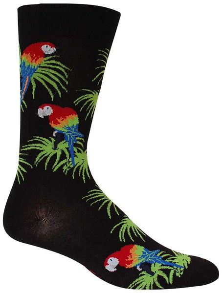 Black crew length socks with scarlet macaw parrots on bright green palm leaves. Fits men's shoe size 6.5-12.