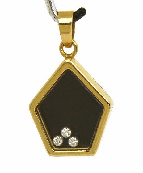 VINTAGE CHOPARD LUC 18K YELLOW GOLD HAPPY DIAMONDS & BLACK ENAMEL PENDANT  #Chopard #Pendant