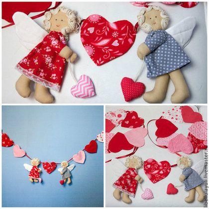 Флажки гирлянда из ткани к дню Святого Валентина -2500